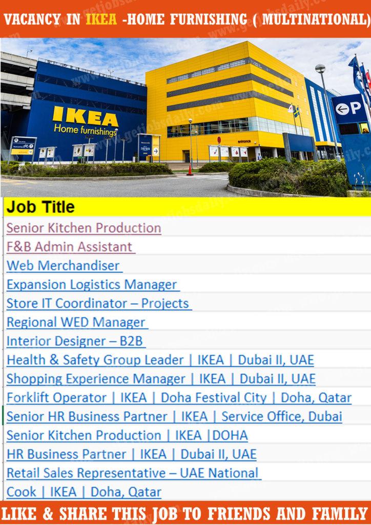 Many Vacancies in IKEA Home Furnishing
