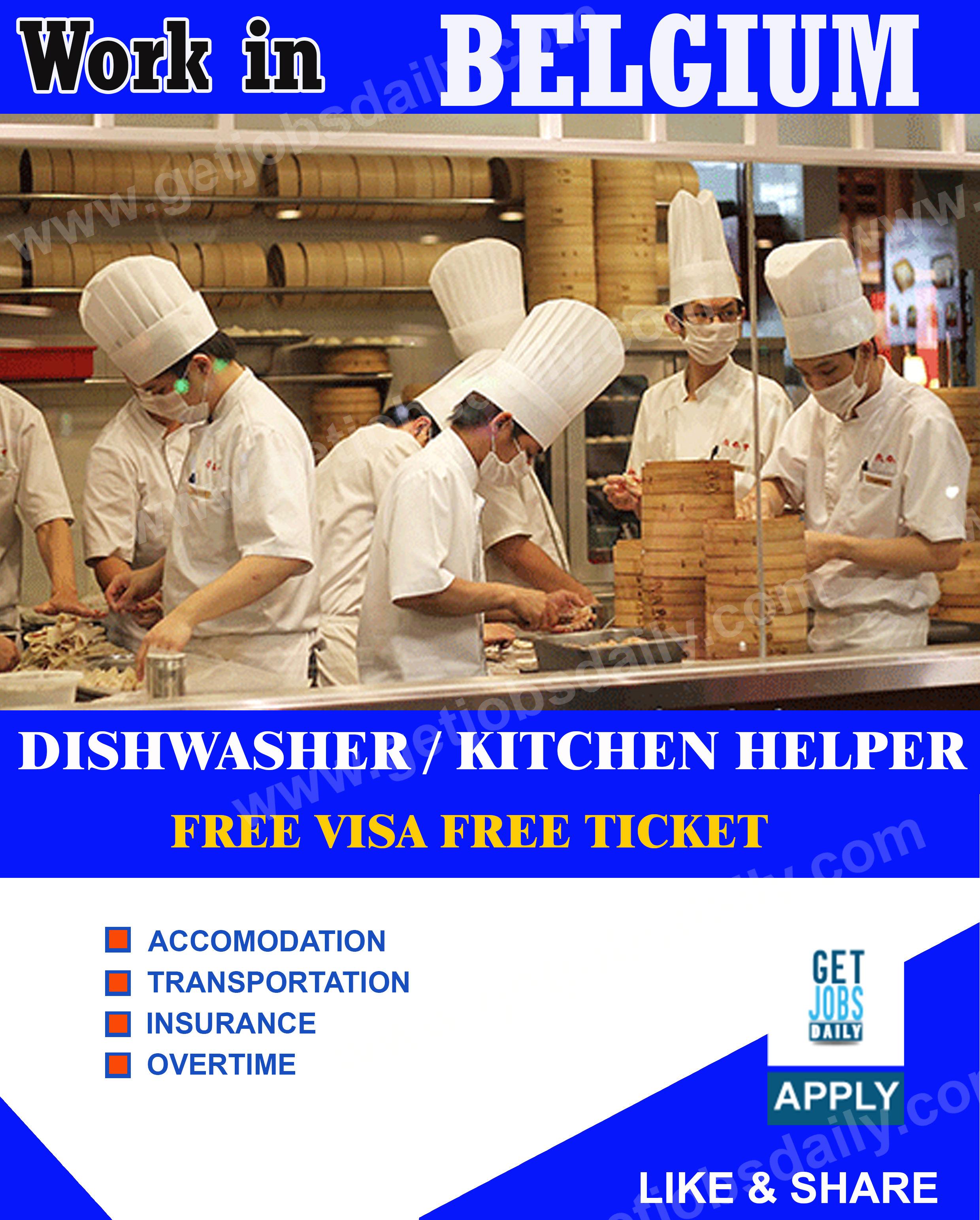 Work in Belgium | Dishwasher and Kitchen helper needed